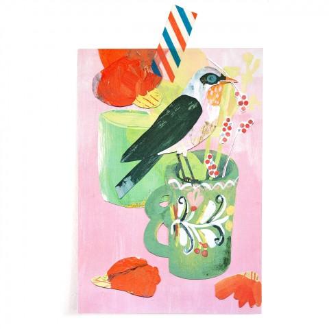 Postkarte Beerenvogel