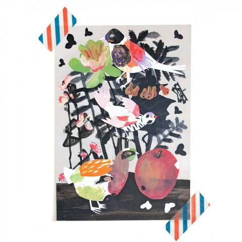 Postkarte Flora & Vögel