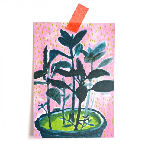 Postkarte Gartenskizze
