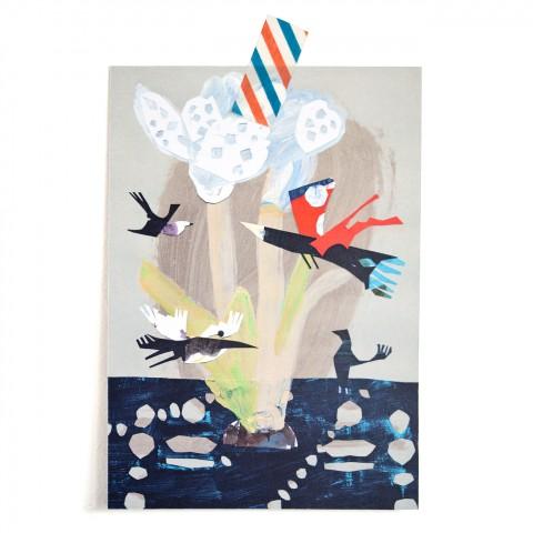Postkarte Wasservögel